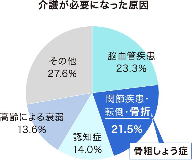 介護が必要になった原因 脳血管疾患23.3% 関節疾患・転倒・骨折 骨粗しょう症 21.5% 認知症 14.0% 高齢による衰弱 13.6% その他 27.6%